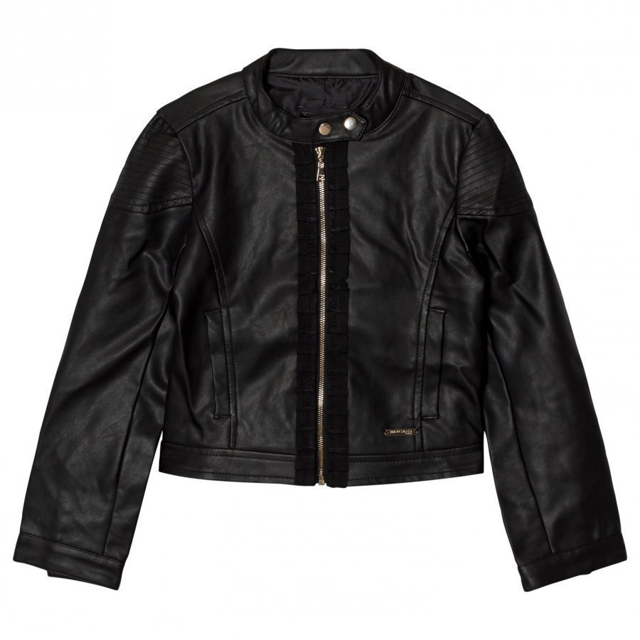 Guess Black Pleather Biker Jacket Biker Takki
