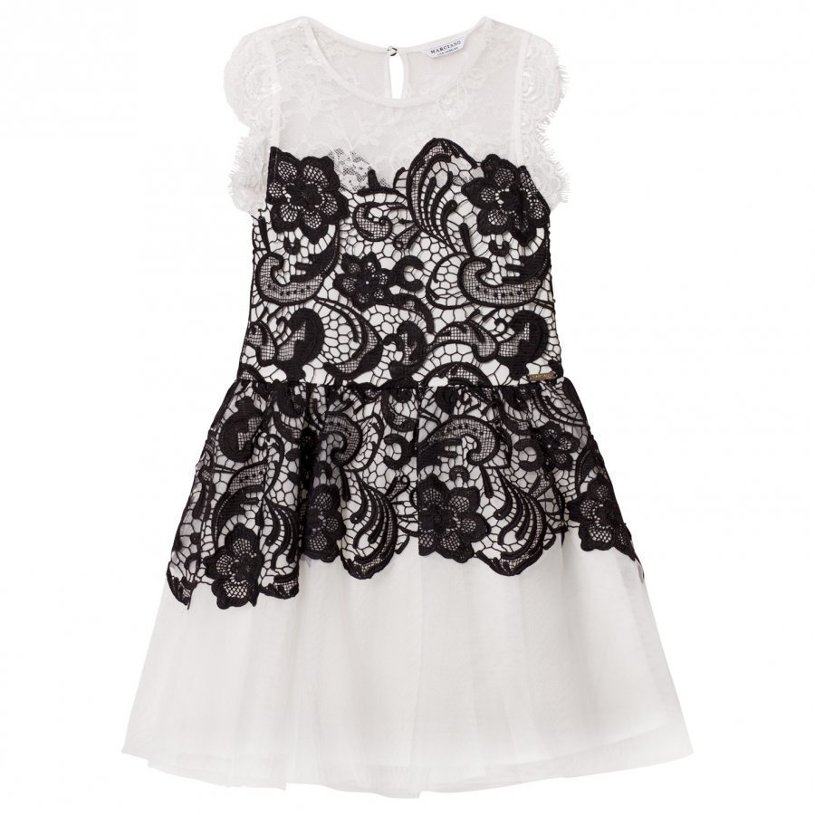 Guess Black White Lace Dress Juhlamekko