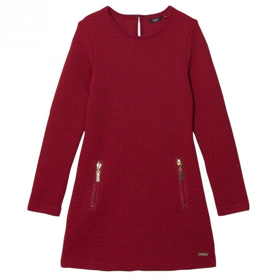 Guess Burgundy Jacquard Zip Dress Mekko