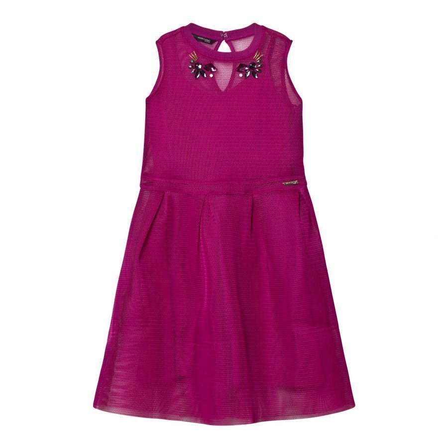 Guess Fuchsia Mesh Dress Juhlamekko