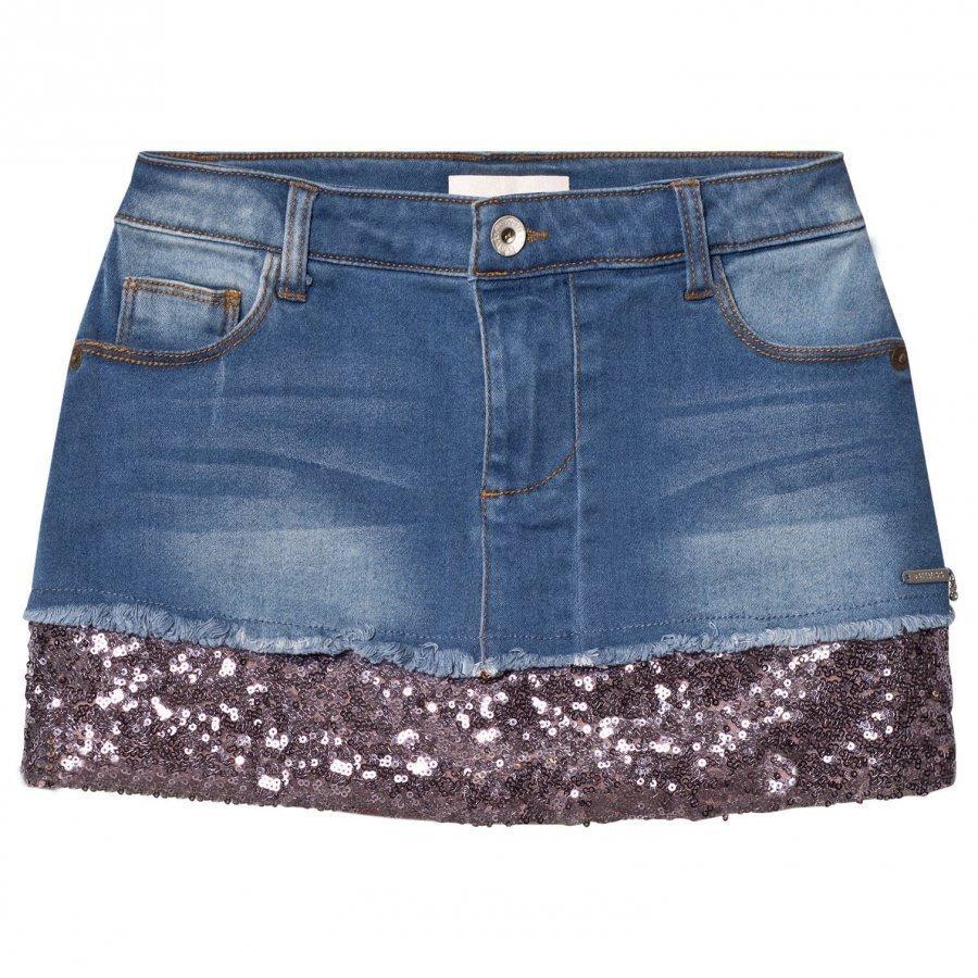 Guess Mid Wash Denim Sequin Skirt Farkkuhame