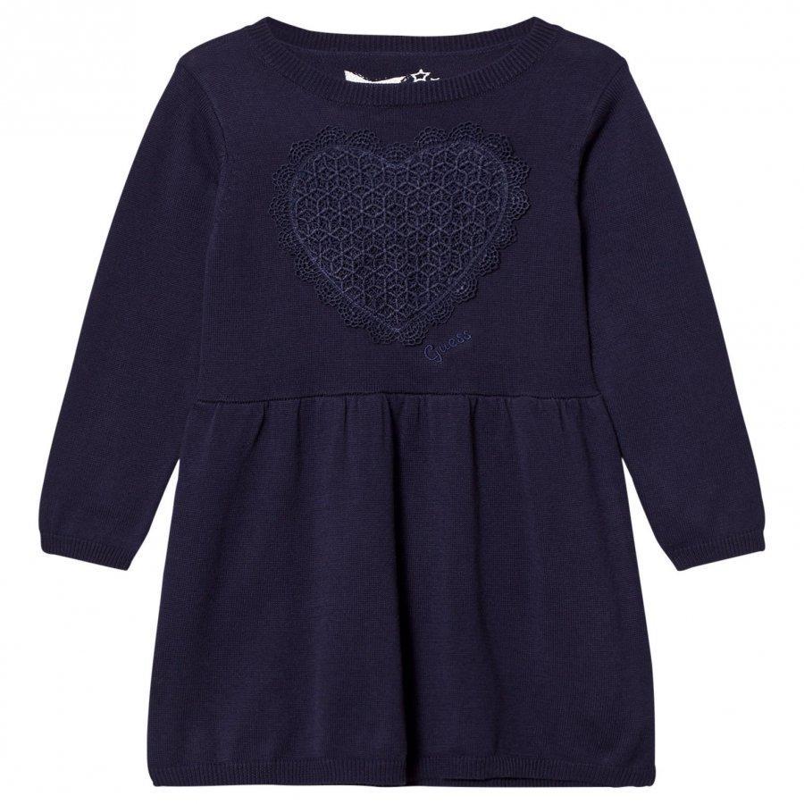 Guess Navy Knit Dress With Lace Heart Applique Mekko