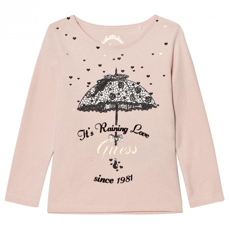 Guess Pale Pink Umbrella Print Tee Tulle Pitkähihainen T-Paita
