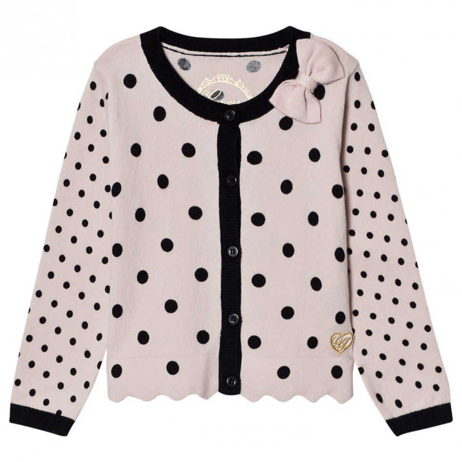 Guess Pink And Black Spot Knit Cardigan With Bow Neuletakki