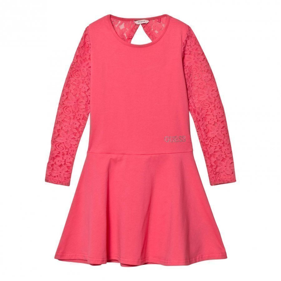 Guess Pink Lace Sleeve Dress Juhlamekko