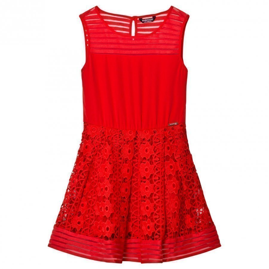 Guess Red Lace And Jersey Dress Juhlamekko