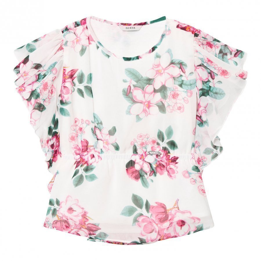 Guess White And Floral Chiffon Blouse T-Paita