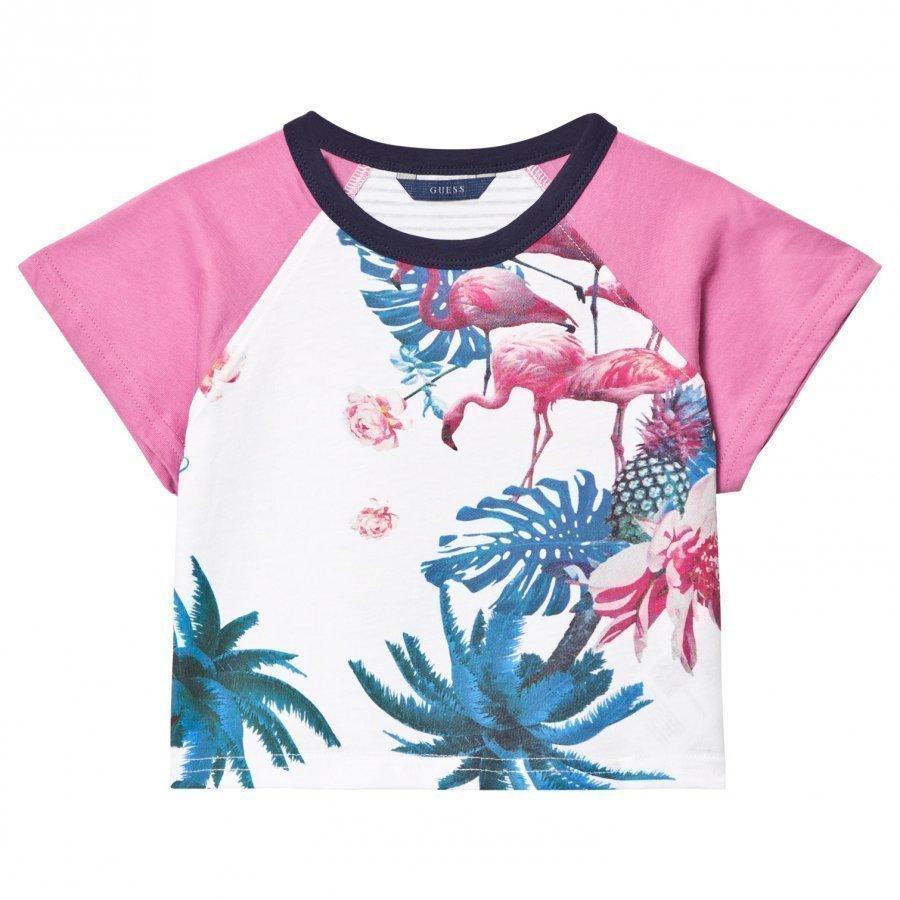 Guess White Flamingo Floral Print Tee T-Paita