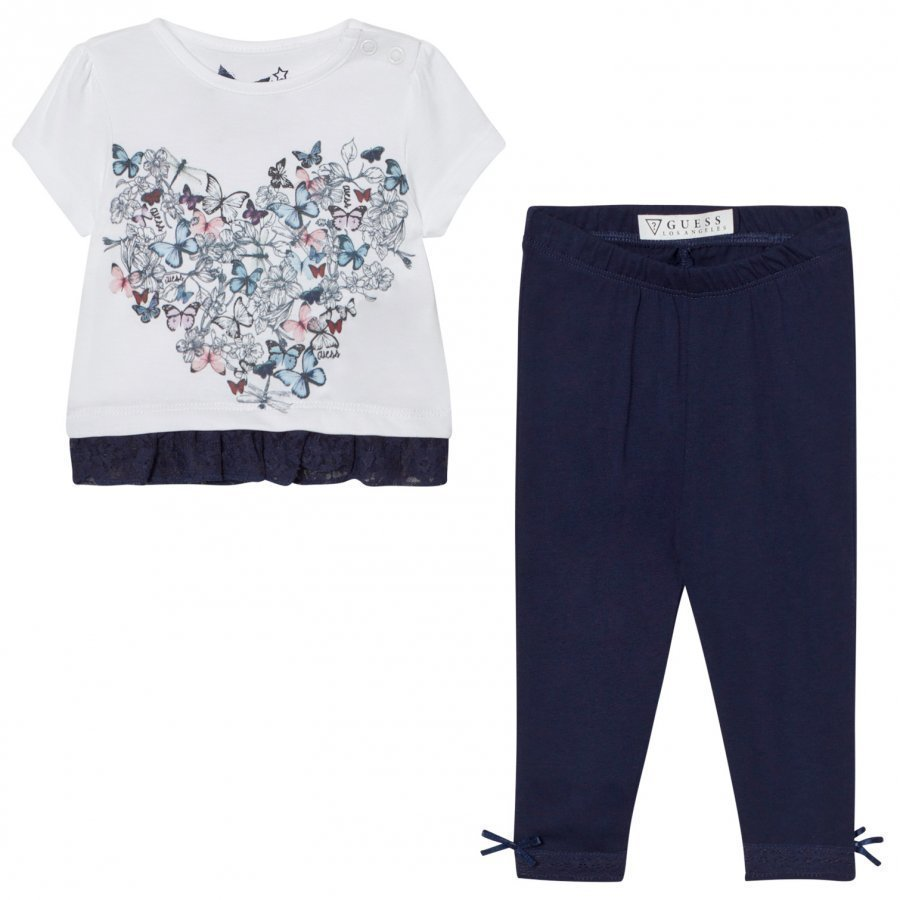 Guess White Floral Heart Print Tee Jersey Leggings Set Asusetti