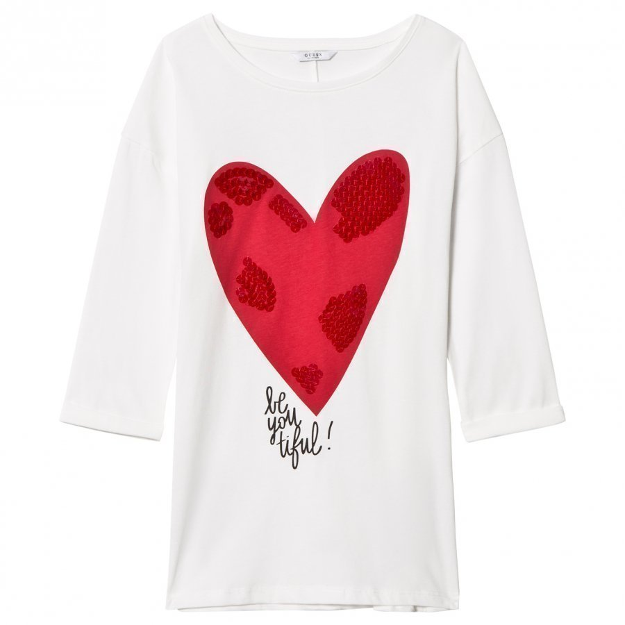 Guess White Heart Print And Sequin Tunic Pitkähihainen T-Paita