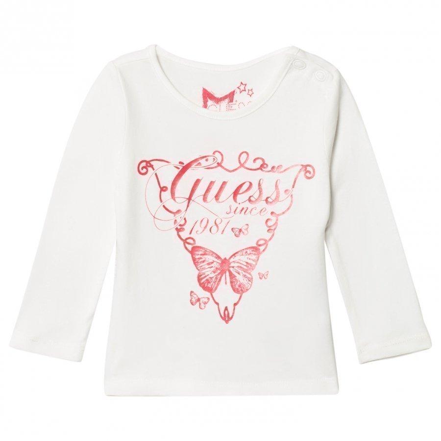 Guess White Pink Heart Print Tee T-Paita
