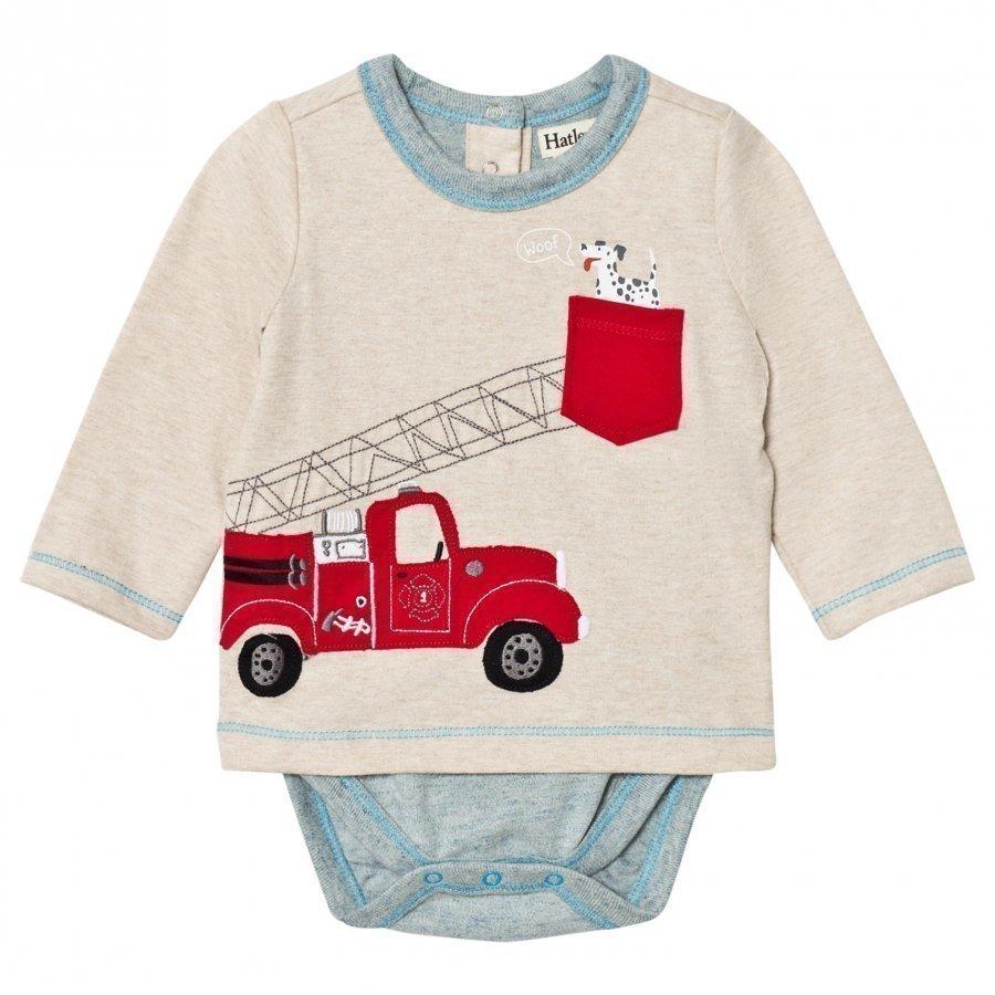 Hatley Beige Fire Truck Applique Tee Body Pitkähihainen T-Paita