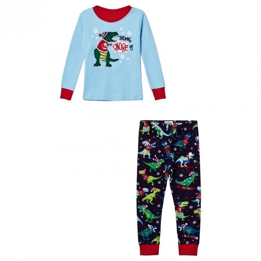 Hatley Blue Christmas Dino Applique/Print Pyjamas Yöpuku