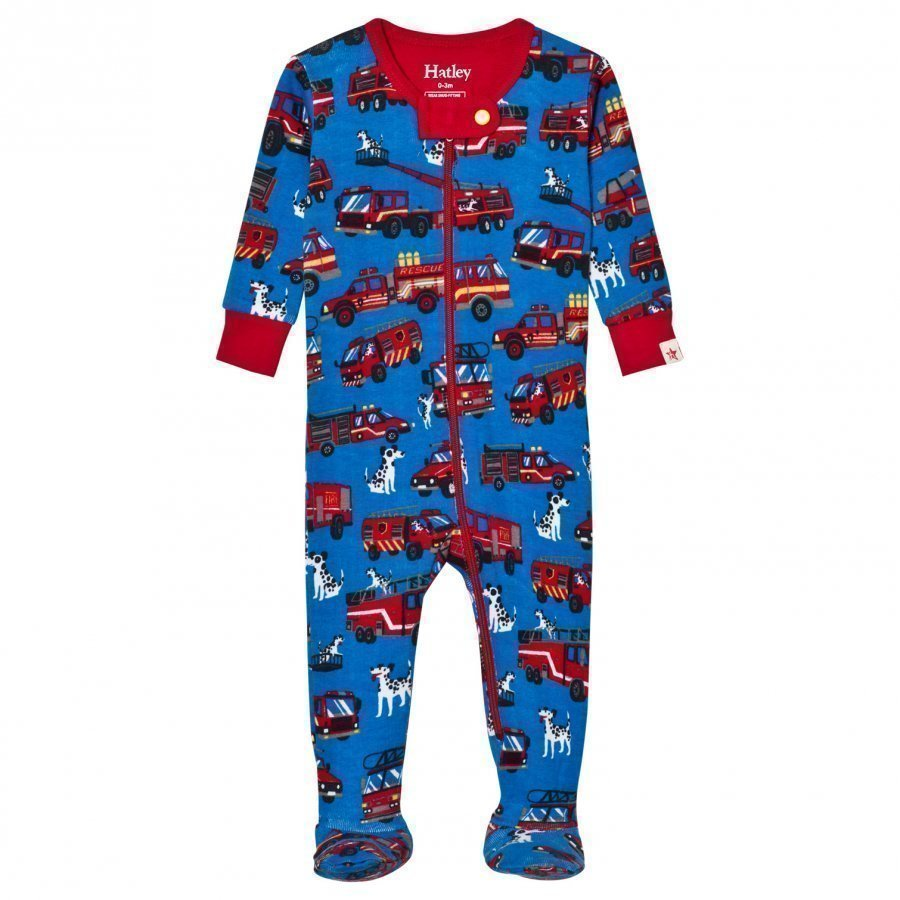Hatley Blue Fire Truck Print Footed Baby Body