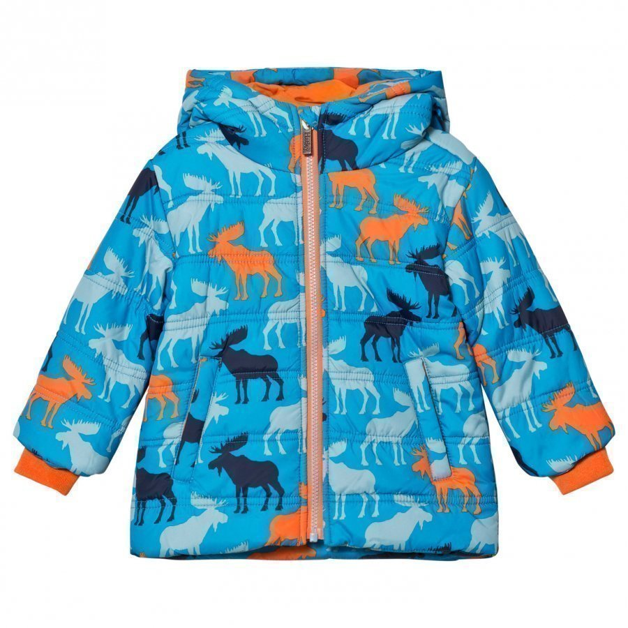 Hatley Blue Moose Print Puffer Jacket Toppatakki