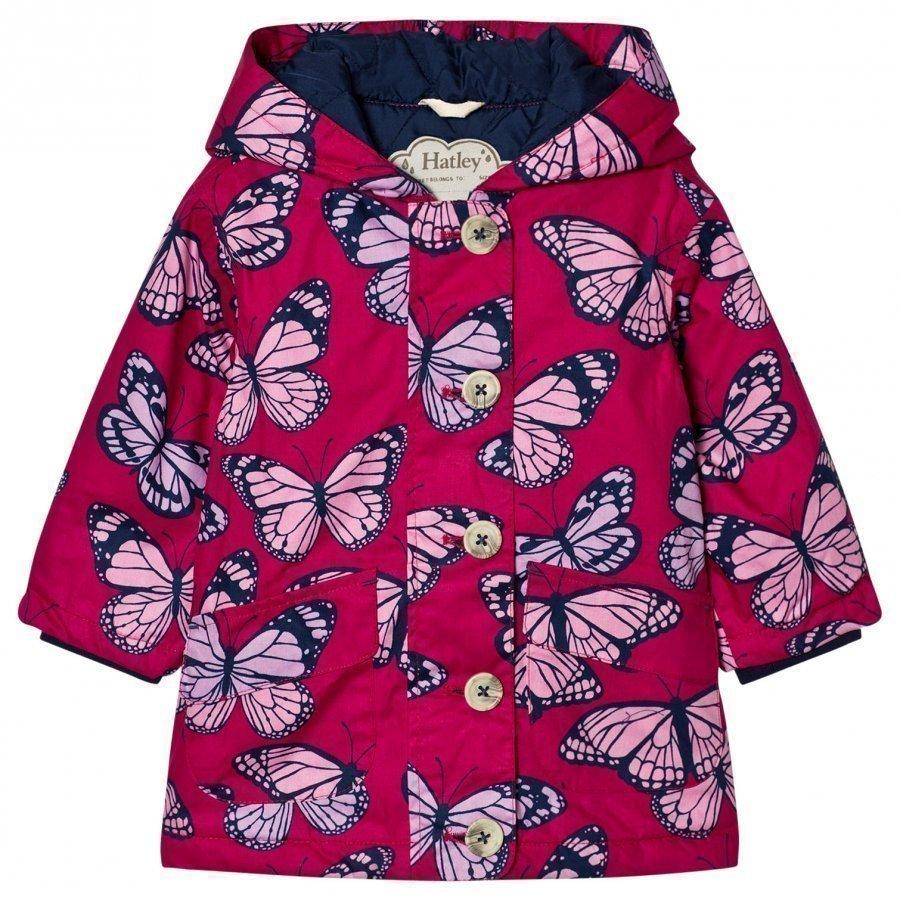 Hatley Butterfly Print Raincoat Pink Sadetakki