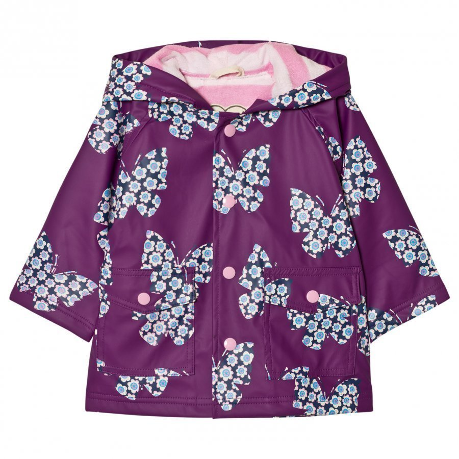 Hatley Butterfly Print Raincoat Purple Sadetakki
