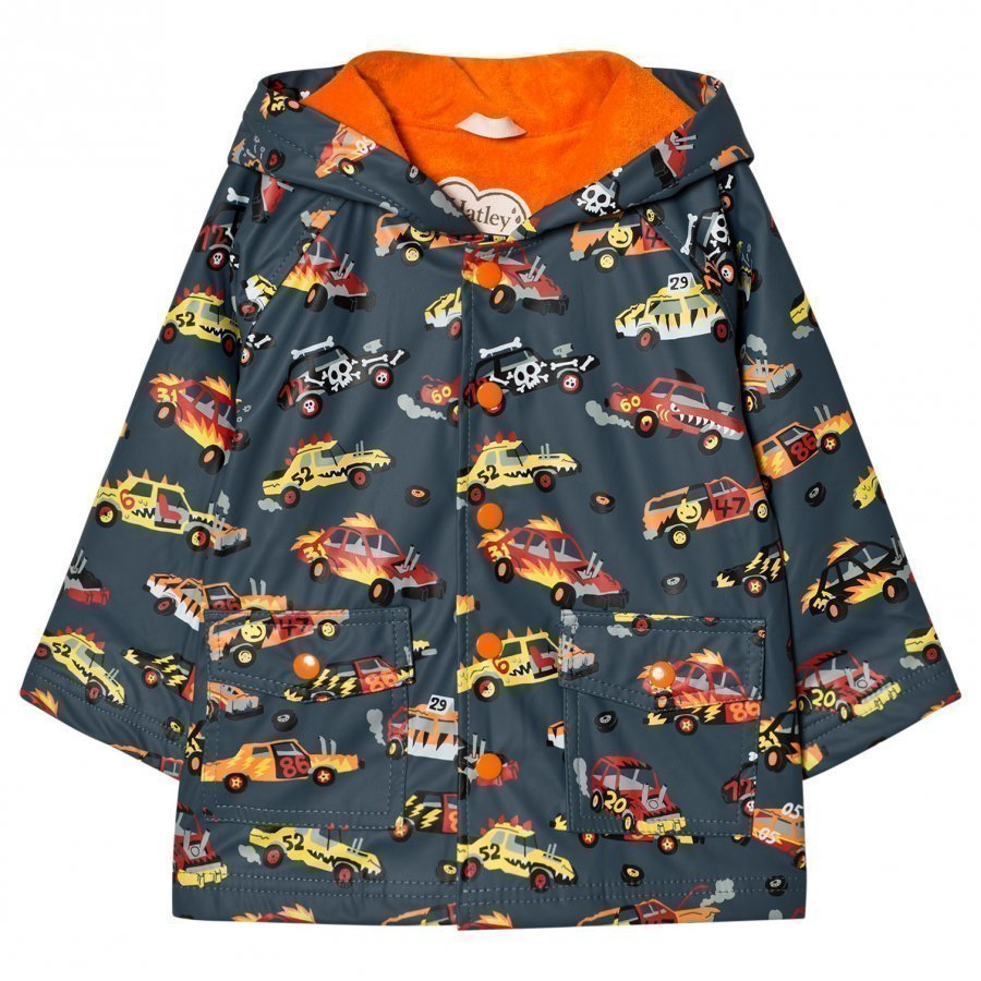 Hatley Car Print Raincoat Dark Grey Sadetakki