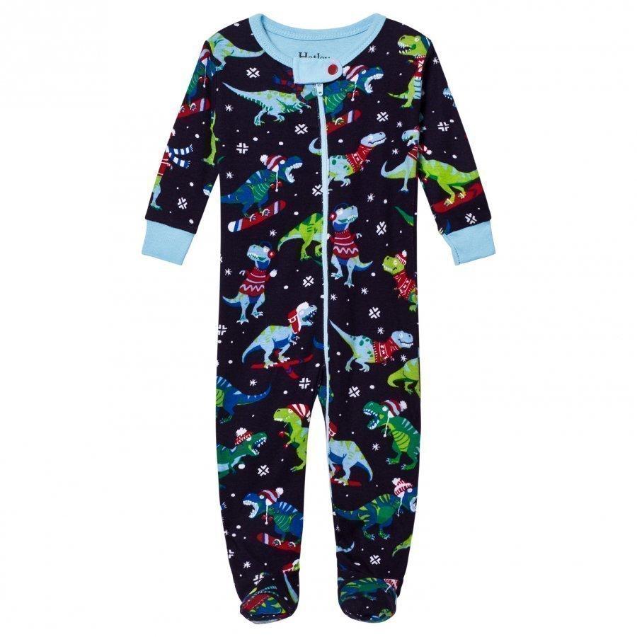 Hatley Christmas Dino Print Baby Body Navy Body
