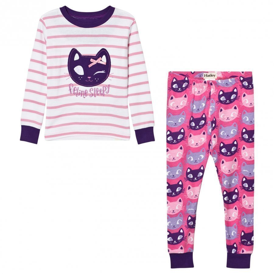 Hatley Cream And Pink Stripe Cat Pyjamas Yöpuku