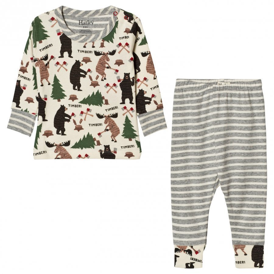 Hatley Cream Lumberjack Animal Pyjamas Yöpuku