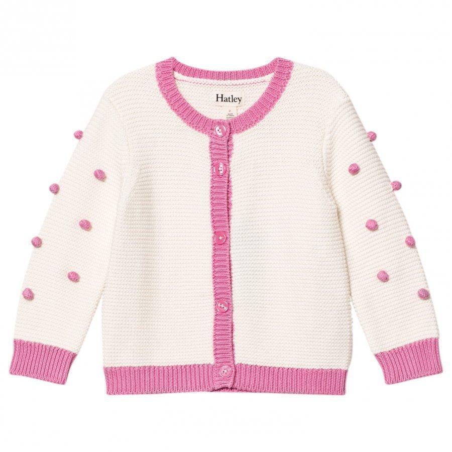 Hatley Cream/Pink Pom Pom Cardigan Neuletakki