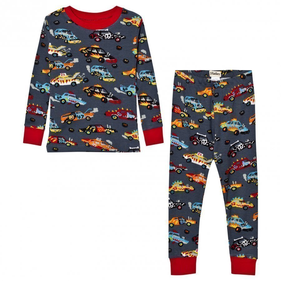Hatley Grey Cars Print Pyjamas Yöpuku