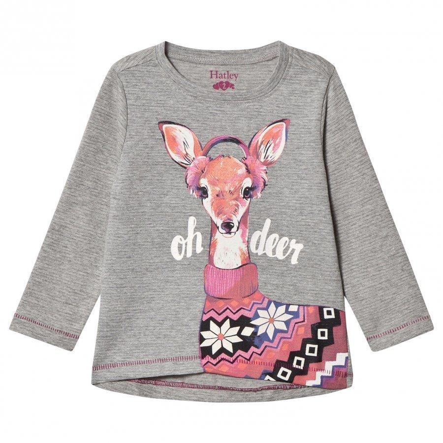 Hatley Grey Deer Print Long Sleeve Tee Pitkähihainen T-Paita