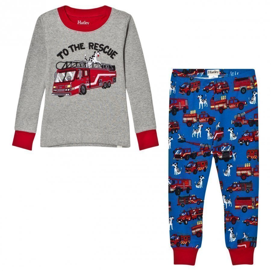 Hatley Grey Fire Truck Applique And Pringrey Fire Truck Applique And Printed Pyjamasted Bottom Pyjamas Yöpuku