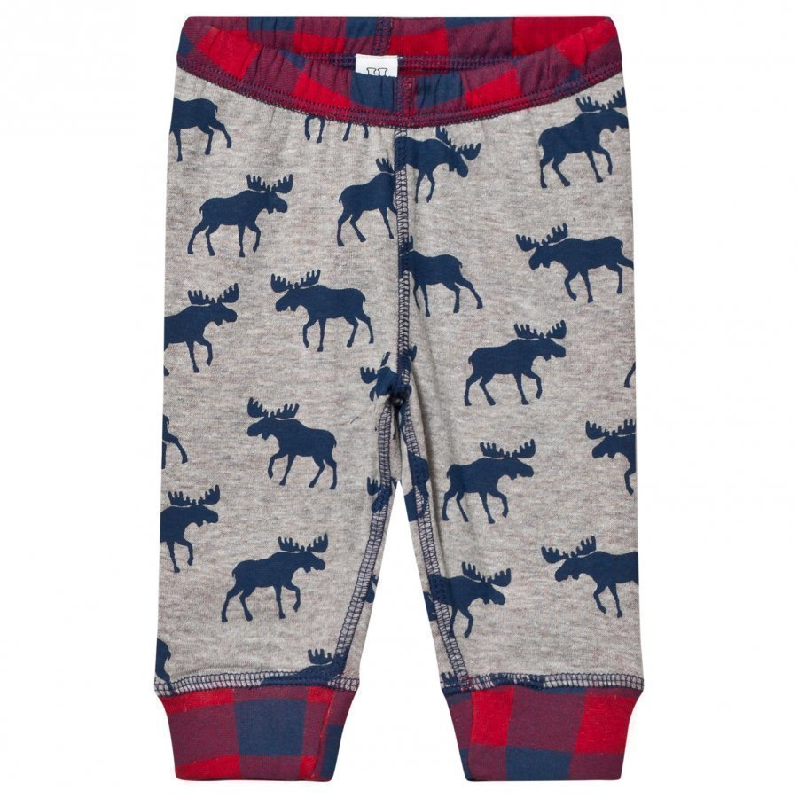 Hatley Grey Moose Print Jersey Bottoms Verryttelyhousut