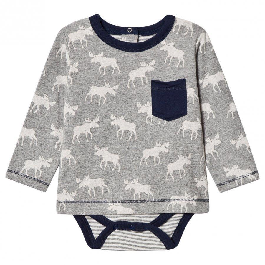 Hatley Grey Moose Print Tee Body Pitkähihainen T-Paita
