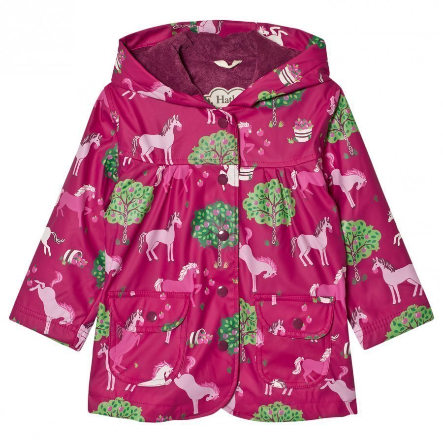 Hatley Horse And Apple Print Raincoat Pink Sadetakki