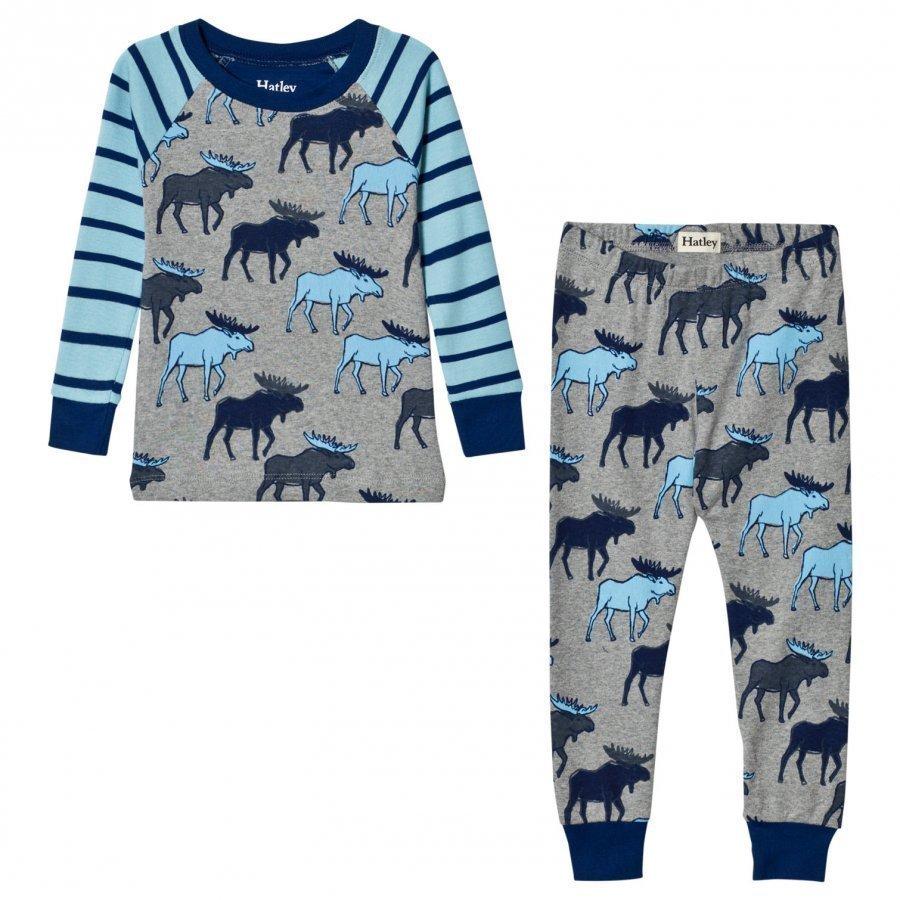 Hatley Moose Print Raglan Pyjamas Yöpuku