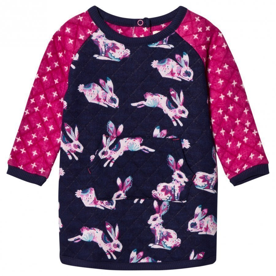 Hatley Navy And Pink Bunny Quilted Dress Mekko