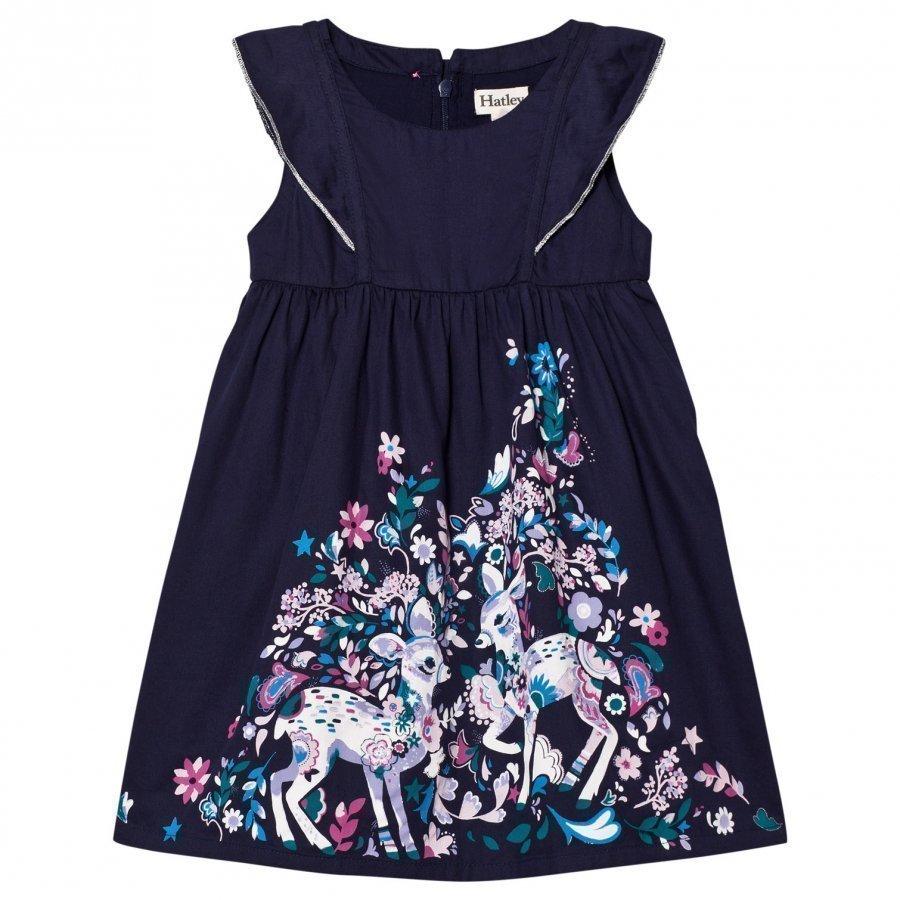 Hatley Navy Deer Flower Print Dress Mekko