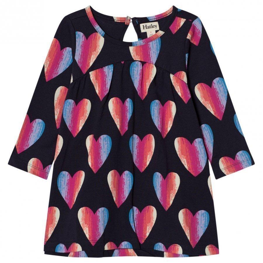 Hatley Navy Heart Print Jersey Dress Mekko