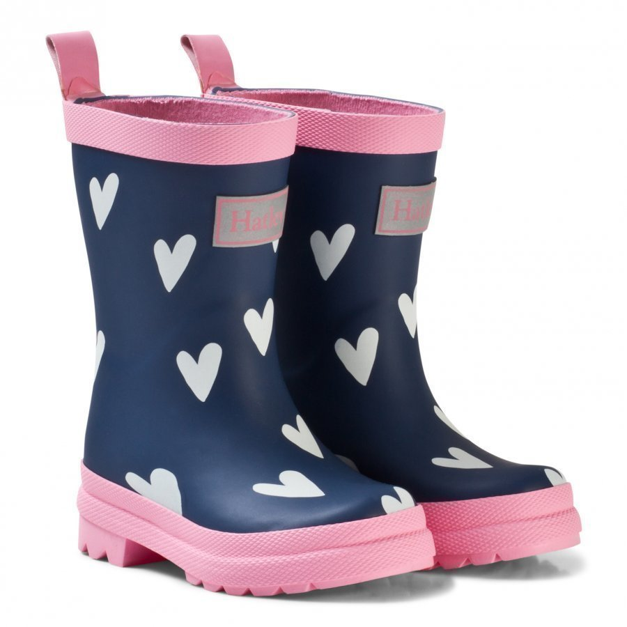 Hatley Navy Hearts Classic Rain Boots Kumisaappaat