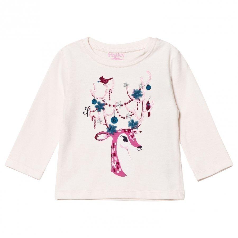 Hatley Pale Pink Glitter Reindeer Print Long Sleeve Tee Pitkähihainen T-Paita