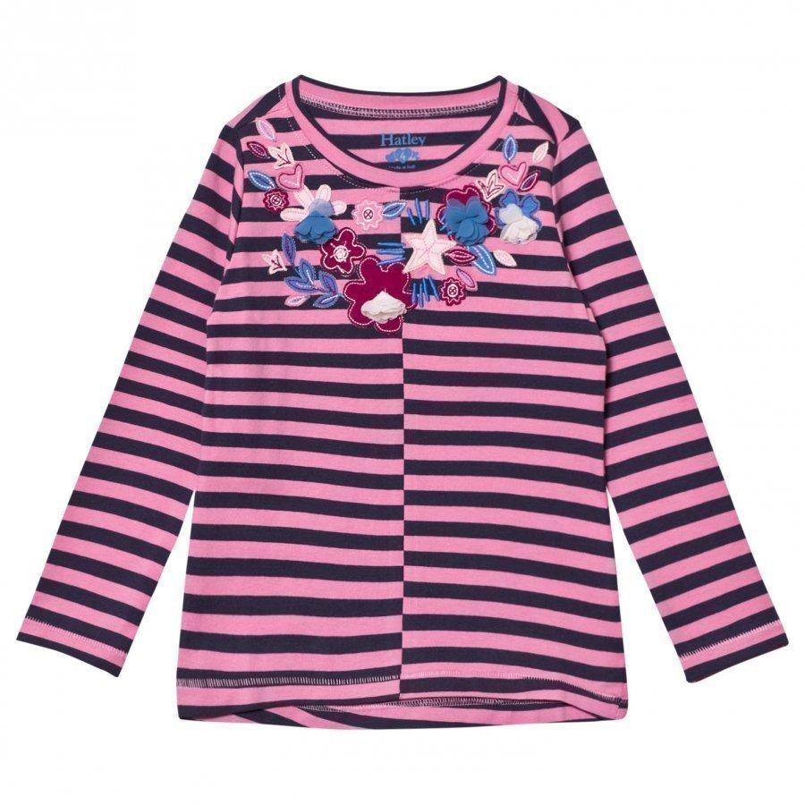 Hatley Pink And Navy Floral Applique Stripe Long Sleeve Tee Pitkähihainen T-Paita