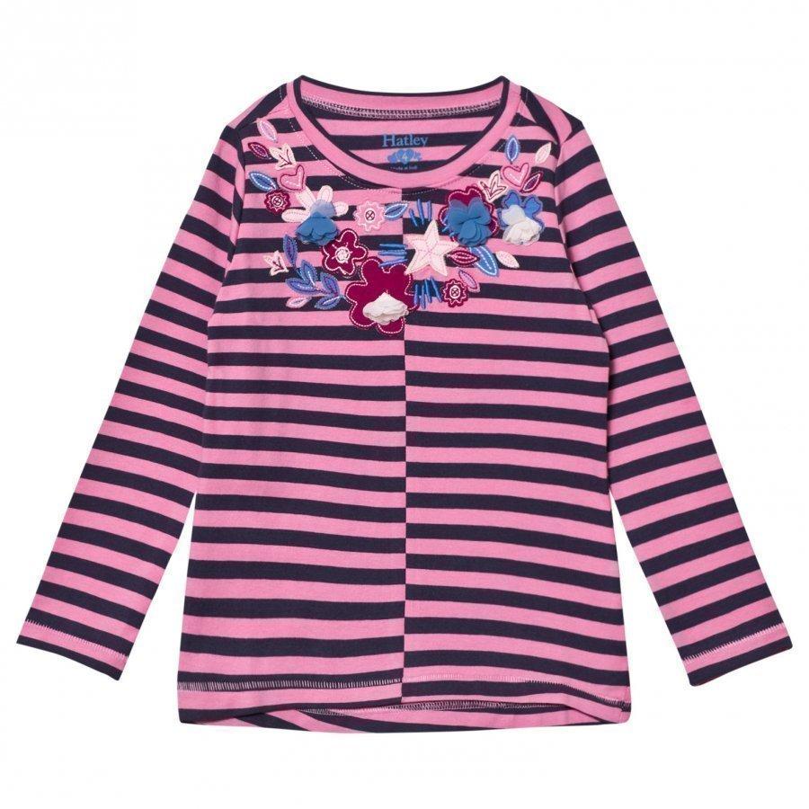 Hatley Pink And Navy Floral Applique Stripe Long Sleeve Tee Pitkähihainen T-Paita