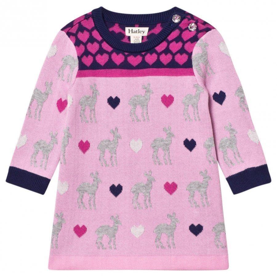 Hatley Pink Deer Heart Design Knit Dress Mekko