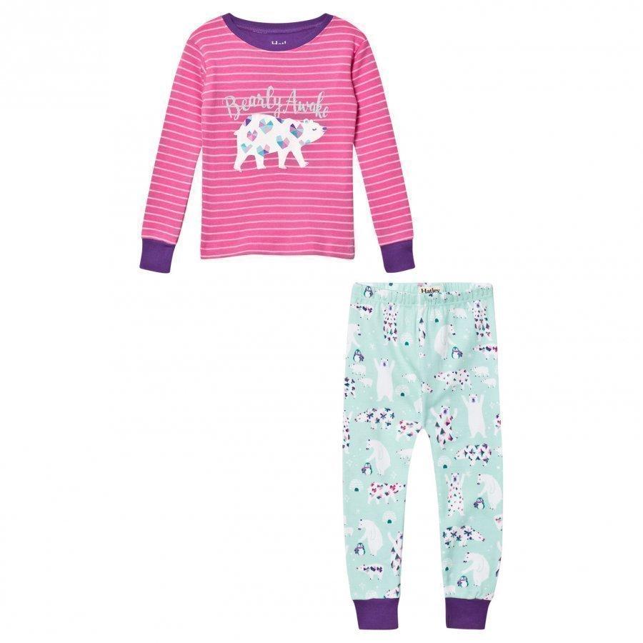 Hatley Pink Glitter Polar Bear/Stripe Pyjamas Yöpuku