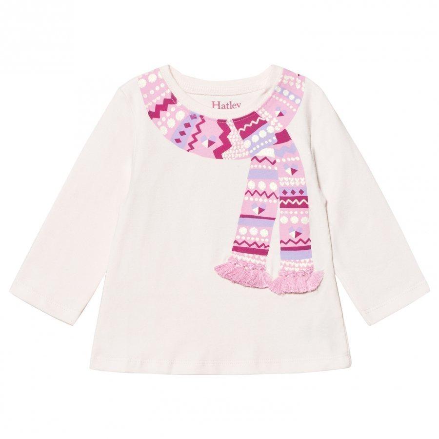 Hatley Pink Scarf Print And Tassle Design Tee Pitkähihainen T-Paita