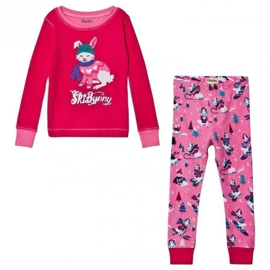 Hatley Pink Ski Bunnies Waffle Pyjamas Yöpuku