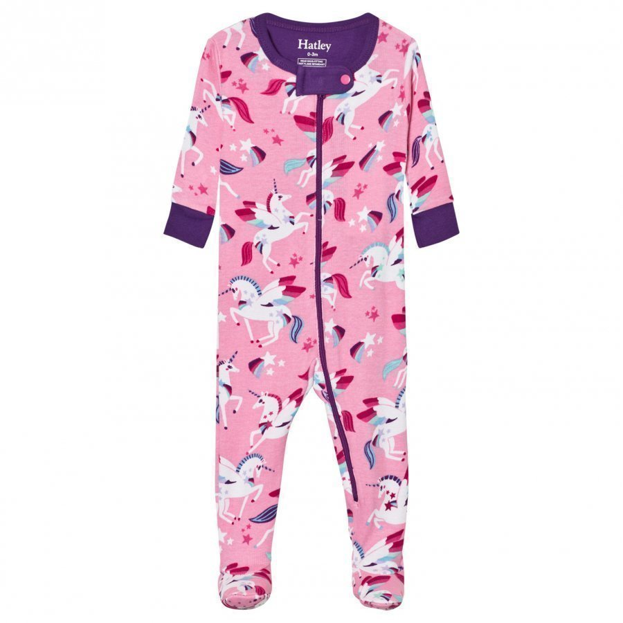 Hatley Pink Unicon Print Footed Baby Body