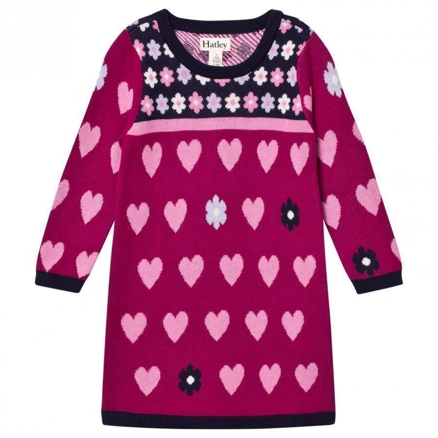 Hatley Purple Knit Heart Dress Mekko
