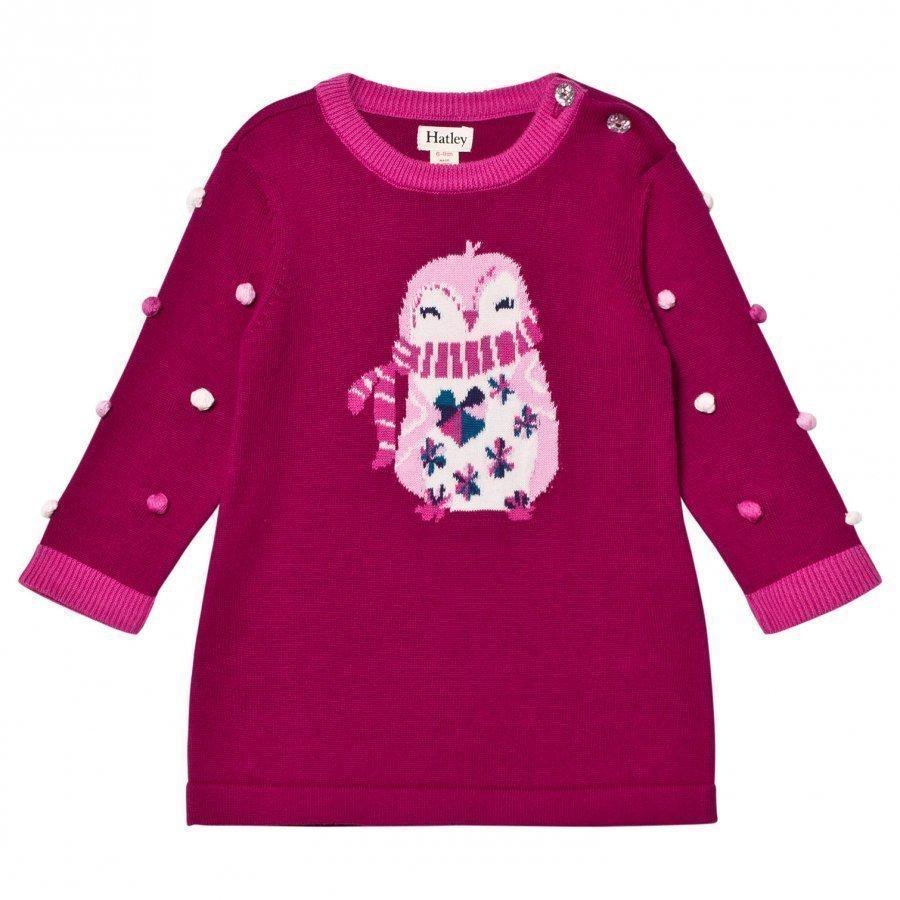 Hatley Purple Penguin Knit Dress Pitkähihainen T-Paita