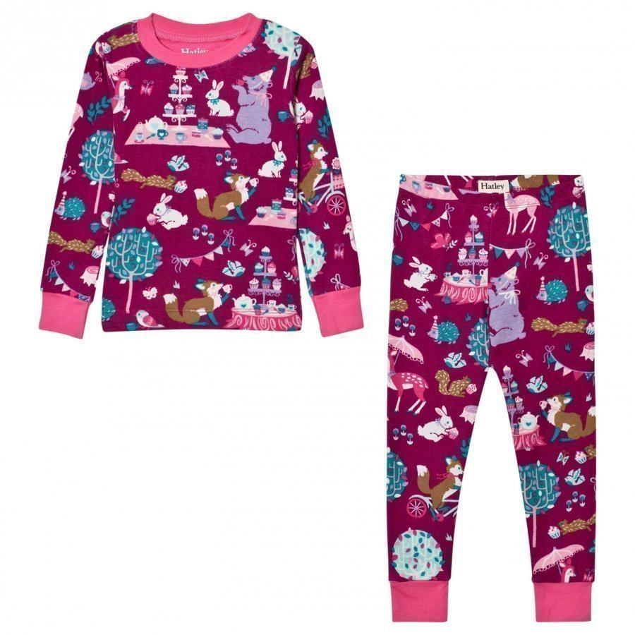 Hatley Purple Tea Party Print Pyjamas Yöpuku
