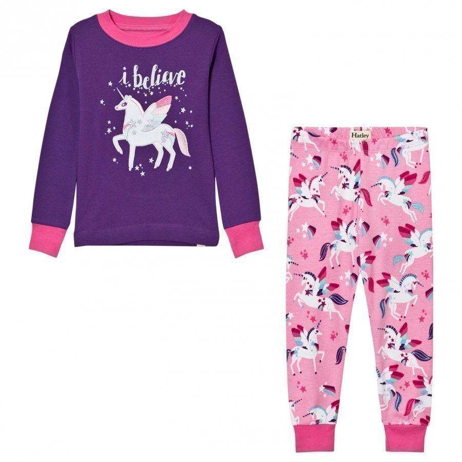 Hatley Purple Unicorn Print Pyjamas Yöpuku