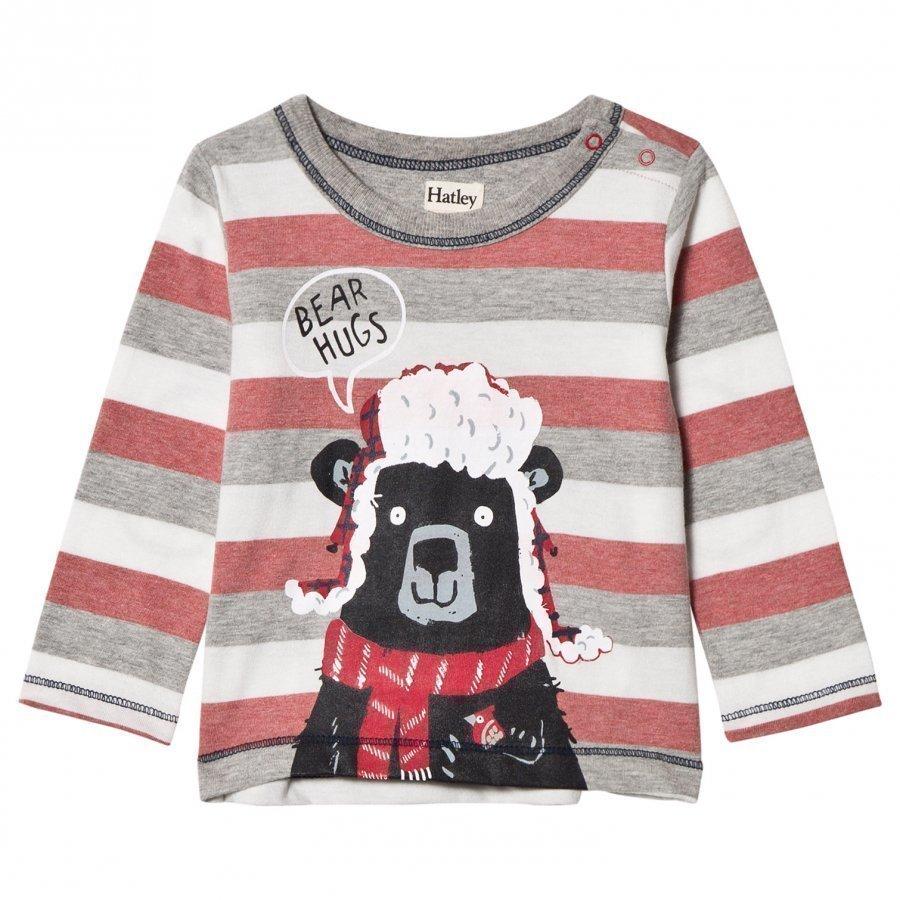Hatley Red And Grey Bear Hugs Tee Pitkähihainen T-Paita
